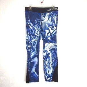 Nike Pro Dry Fit Workout Leggings Blue Tie Dye
